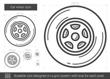 Car wheel line icon. Car wheel vector line icon isolated on white background. Car wheel line icon for infographic, website or app. Scalable icon designed on a vector illustration