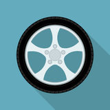 Car wheel. Picture of car wheel, flat style icon vector illustration