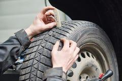 Car wheel protector measurement Stock Photo