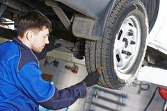 Car wheel protector measurement Royalty Free Stock Image