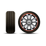 Car Wheel Realistic. Realistic shining disk car wheel tyre set isolated vector illustration Royalty Free Stock Photos