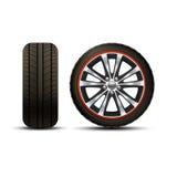 Car Wheel Realistic. Realistic shining disk car wheel tyre set isolated vector illustration stock illustration