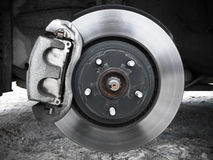 Car wheel, rotor disk and brake Royalty Free Stock Image