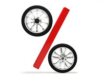 Car wheel sale 3d rendering. Tyres with a percent. Present. 3D Icon isolated on white background Stock Photos