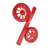 Car wheel sale 3d rendering. Tyres with a percent. Present. 3D Icon isolated on white background Stock Photography