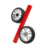 Car wheel sale 3d rendering. Tyres with a percent. Present. 3D Icon isolated on white background Royalty Free Stock Photos