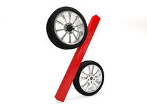 Car wheel sale 3d rendering. Tyres with a percent. Present. 3D Icon  on white background Royalty Free Stock Photos