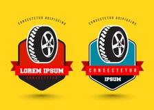 Car wheel service classic emblem set. Vector illustration Stock Photo