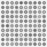 Car wheel set. Rims icons Stock Photos