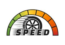 Car wheel with speedometer on white background .Vector illustration.  Royalty Free Stock Photos