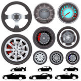 Car, wheel, steering wheel vector Stock Images