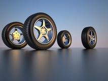 Car wheel tire. 3d illustration of four car wheel tire Stock Images