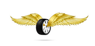Car wheel and tire with flying pair of wings for logo and emblem Stock Photo