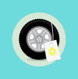 Car wheel/tire with summer sign flat design Stock Images
