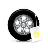 Car wheel/tire with summer sign isolated on white Royalty Free Stock Photos