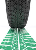 Car wheel tire and track. 3d render illustration of a car wheel making a green track over white Stock Photo