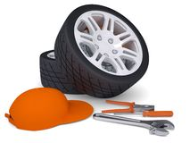 Car wheel and tools Stock Image