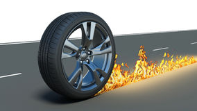 Car wheel and track fire on the road Stock Image