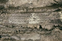 Wheel Track in Mud. Car Wheel Track in Wet Mud Stock Photography