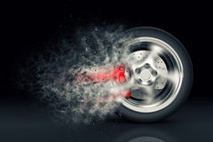 Car wheel. With trail of dust vector illustration