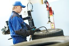 Car wheel tyre air pressure check Royalty Free Stock Images