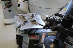 Change tire machine in workshop. stock image