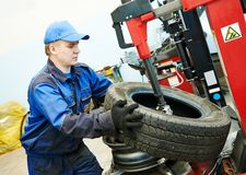 Car wheel tyre fitting or replacement Stock Image