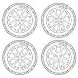 Car Wheel, vector illustration Stock Images