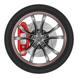 Car Wheel. Vector illustration wheel drive sports car on a white background Stock Photos