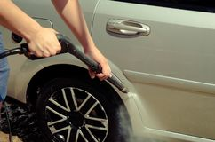 Close up of car wheel washing stock image