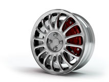 Aluminum wheel image 3D high quality rendering. White picture figured alloy rim for car, tracks. Best used for Motor Show promotio Royalty Free Stock Photo