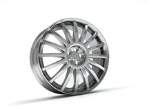 Aluminum wheel image 3D high quality rendering. White picture figured alloy rim for car, tracks. Best used for Motor Show promotio Stock Photos