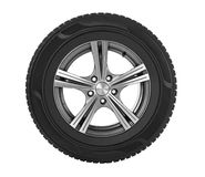 Car wheel on white stock image
