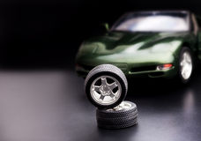 Car wheels. Over dark background Stock Photography