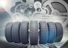 Car wheels on abstract background with stripes Royalty Free Stock Photos
