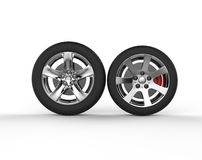 Car wheels - chrome rims Royalty Free Stock Photos
