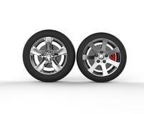 Car wheels - chrome rims Royalty Free Stock Photos