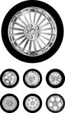 Car wheels collection Royalty Free Stock Images