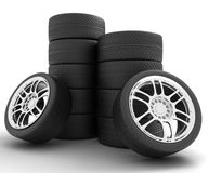 Car Wheels. 3D render Illustration on White Background. Car Wheels. Concept design. 3D render Illustration on White Background Royalty Free Stock Photography