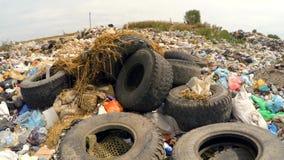 Car Wheels At Garbage Dump stock footage