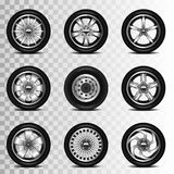 Car wheels icons vector set. Car wheels icons detailed photo realistic vector set Vector Illustration