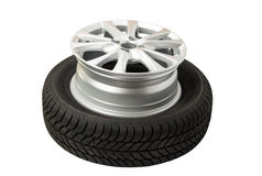 Car wheels isolated Stock Images