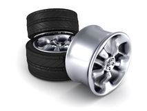 Car wheels and one alloy wheel on white background. 3d Royalty Free Stock Photo