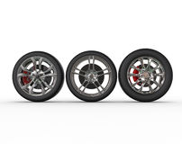 Car wheels - rims variations Royalty Free Stock Image