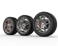 Car wheels - rims variations - side view Stock Image