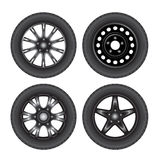 Car wheels. Set of car discs with tires. Vector illustration Stock Photography