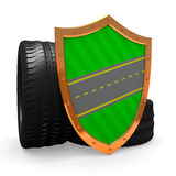 Car wheels and shield Stock Photography