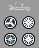 Car Wheels Shopping Flat Vector Banner Template. Automobile Accessories Sale Typography. Seasonal Tire Replacement for Better Grip, Safety. Summer, Winter stock illustration