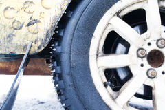 Car wheels with spikes for racing on ice. Stock Photography