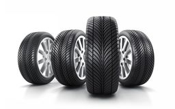 Car wheels and tires vector illustration